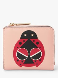 Kate Spade New York Spademals Lucky Ladybug Leather Small Bifold Purse Flapper Pink
