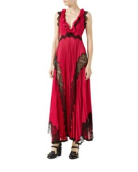 Gucci Sleeveless Long V Neck Dress With Lace Trim Red