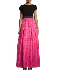 Theia Boatneck Cap Slv Crepe Top W Cerise