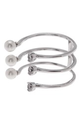 Nordstrom Rack Triple Cz And Imitation Pearl Open Ring Clear White Rhod