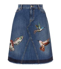 Red Valentino Hummingbird Embroidered Denim Skirt Female Blue
