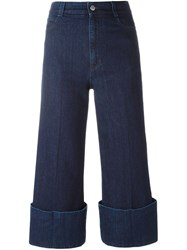 Stella Mccartney Cropped High Rise Flared Jeans Blue