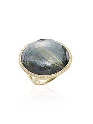 Ippolita Lollipop Diamond Rutilated Quartz Hematite Doublet And 18K Yellow Gold Ring