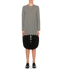 Junya Watanabe Concertina Striped Wool Dress Blk