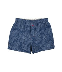 Tommy Bahama Island Washed Cotton Woven Boxer Tonal Palm Navy Floral Men's Underwear Blue
