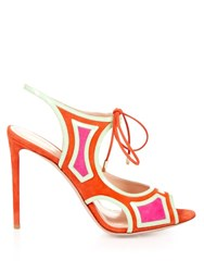Nicholas Kirkwood Outliner Suede And Patent Leather Sandals Coral