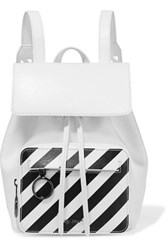 Off White Striped Textured Leather Backpack One Size White