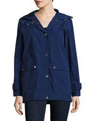 Kate Spade Solid Cotton Blend Hooded Jacket Navy