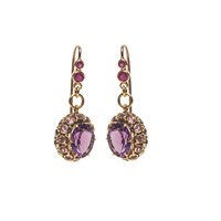 Van Andel And Peace Fine Jewellery Princess Earrings Gold Amethysts And Rubies Gold Pink Purple