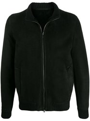 Salvatore Santoro Shearling Bomber Jacket Black