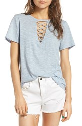 Socialite Women's Grommet Lace Up Tee Chambray