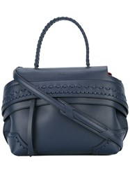 Tod's Fold Over Closure Tote Blue