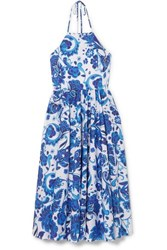 Caroline Constas Gretta Printed Cotton Blend Halterneck Dress Blue