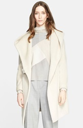 Fabiana Filippi Suede Trim Alpaca Wool Blend Coat Ivory