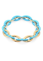 Vhernier Doppio Senso 18K Rose Gold And Turquoise Chain Link Necklace Blue