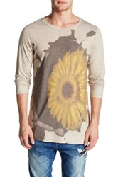 Go Couture Summer Weight Long Sleeve V Neck Pocket Printed Slub Tee Beige