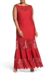 Tadashi Shoji Plus Size Women's Illusion Lace Pintuck Jersey Gown Deep Red