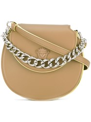 Versace Palazzo Curved Crossbody Bag Nude Neutrals