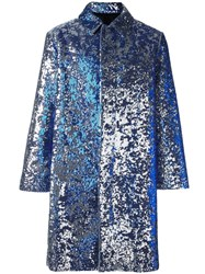 Ami Alexandre Mattiussi Sequined Single Breasted Coat Blue