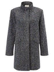Eastex Tweed Funnel Neck Coat Multi Coloured