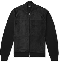 Dunhill Ribbed Merino Wool And Suede Bomber Jacket Black