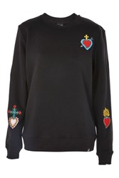 Illustrated People Black Badged Sweater By Black