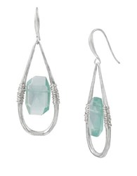 Robert Lee Morris Mineral Bound Wire Wrapped Drop Earrings Blue