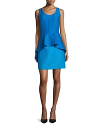 Halston Sleeveless Peplum Cocktail Dress Aqua