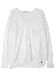 Versace White Burnout Cotton Blend Jumper