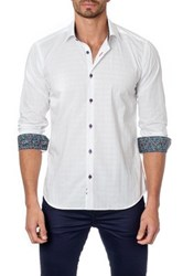 Jared Lang Long Sleeve Contrast Trim Semi Fitted Shirt White