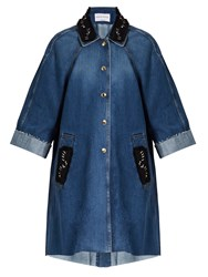 Sonia Rykiel Embellished Denim Coat Blue