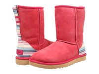 Ugg Classic Short Serape Sunset Red Twinface Women's Pull On Boots