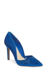 Jessica Simpson Women's Charie Pointy Toe D'orsay Pump Poppy Blue Suede