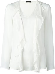 Etro Ruffled V Neck Blouse White