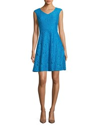 Ellen Tracy Lace Fit And Flare Dress Blue