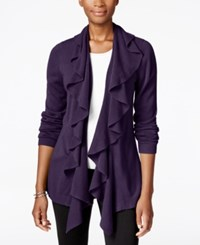 Karen Scott Ruffled Open Front Cardigan Only At Macy's Purple Dynasty