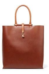 Gabriela Hearst Vevers Crocodile Trimmed Leather Tote Brown