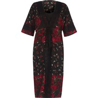 River Island Black Floral Rose Print Layered Kimono Dress