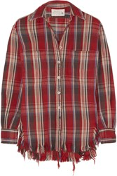 R 13 Distressed Plaid Cotton Shirt Red