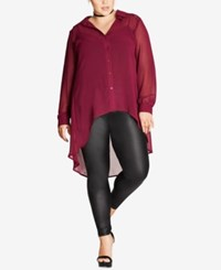 City Chic Trendy Plus Size Sheer Tunic Shirt Bright Red