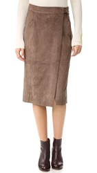 And B Ring Buckle Midi Skirt Taupe