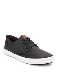 Ben Sherman Textured Leather Lace Up Sneakers Black