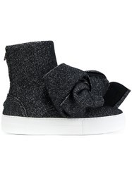 Joshua Sanders Bow Sock Sneakers Leather Acrylic Polyester Rubber Black
