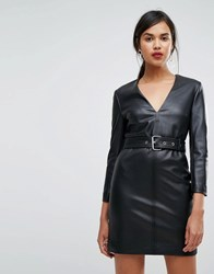 Ivyrevel Pu Leather Bodycon Dress With Belt Detail Black