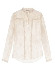 Balenciaga Tie Neck Satin Devore Blouse