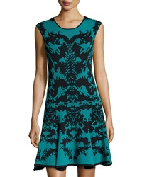 Julia Jordan Knit Abstract Print Cap Sleeve Dress Green Black