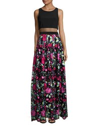 Betsy And Adam Sleeveless Embriodered Popover Gown Black Multi
