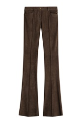 Jitrois Flared Suede Pants Brown