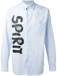 Comme Des Gara Ons Shirt 'Spirit' Print Striped Shirt Blue