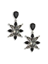 Oscar De La Renta Tropical Bloom Crystal Star Clip On Earrings Black
